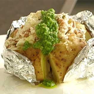 Ofenkartoffel mit krabben mascarpone fuellung