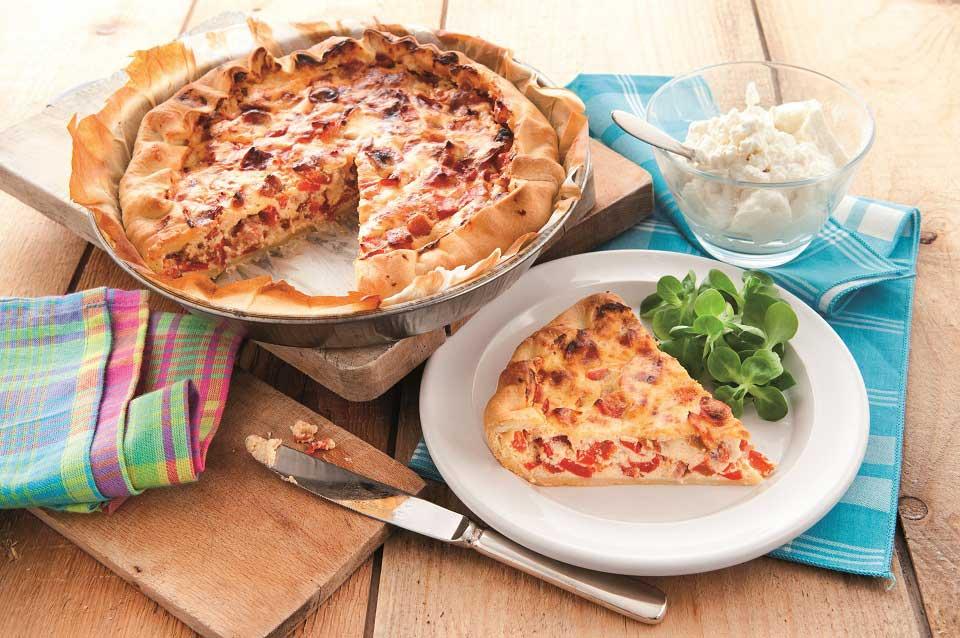 Ricotta Quiche mit Bacon und Paprika