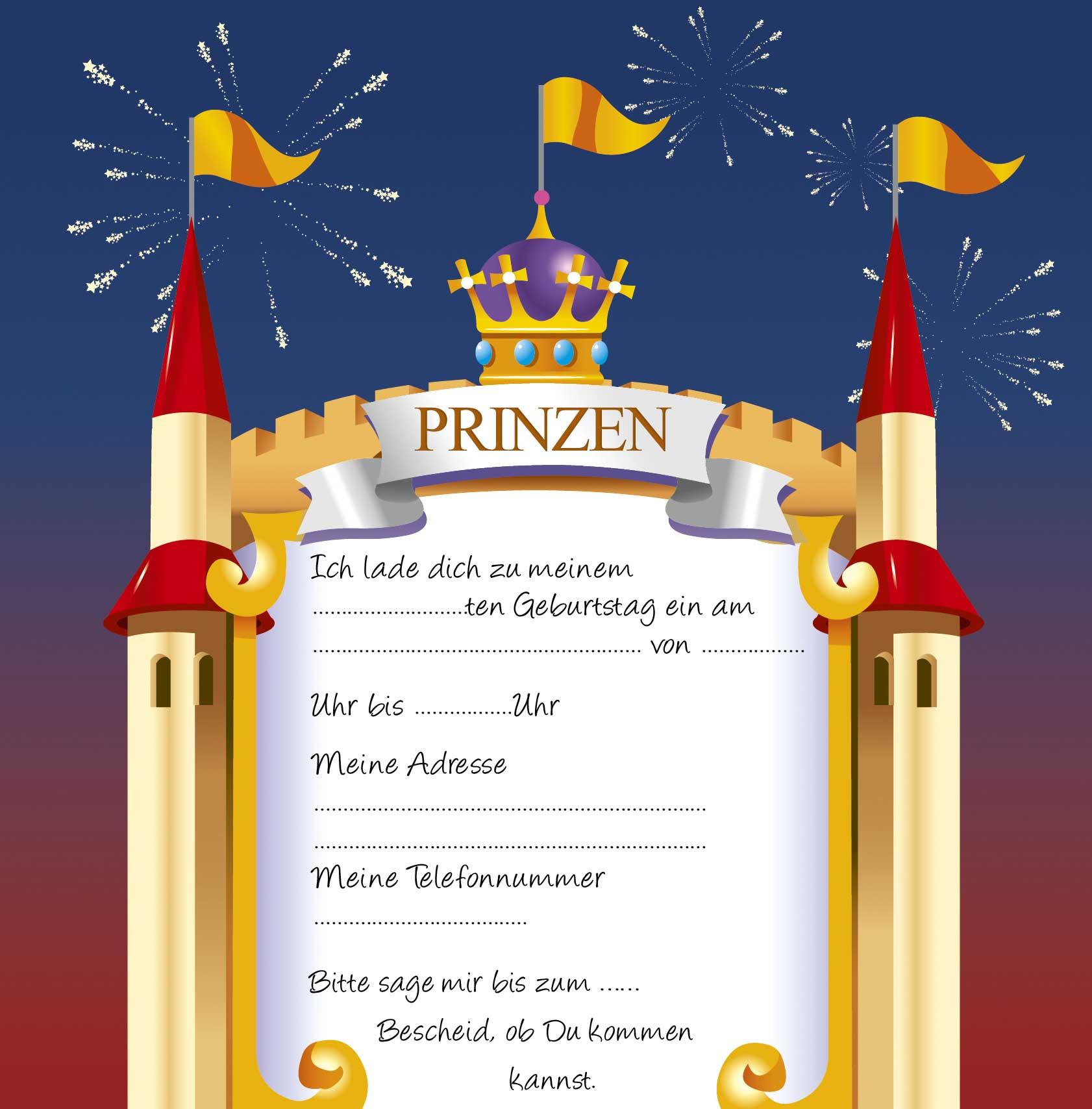 Einladung Prinzessin · Einladung Prinz. U003e