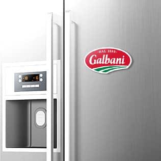 Kühlschrank Edelstahl mit Galbani Logo